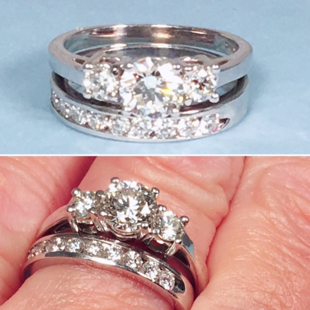 L840. Dazzling Estate Diamond Wedding Set. 1 1/4 Total Carat Weight With .54 Carats In The Band. Size 6 1/4 And Can Be Sized. GIA Appraisal Included. $3900.00 Set.
