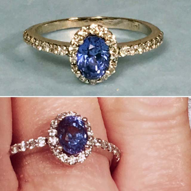 Diamond Sapphire Engagement Ring Nashville Franklin Tn LP2164 14K 1.07ct Ceylon Blue Sapphire .25ct SI1 diamonds HALO ring SZ 6.5 ​$2050. Includes GIA appraisal