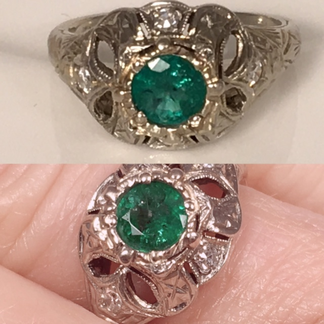 LP2166. Striking 14K Art Deco Emerald And Diamond Ring. GIA Appraisal Included. Size 5 1/2. Can Be Sized. $995.00