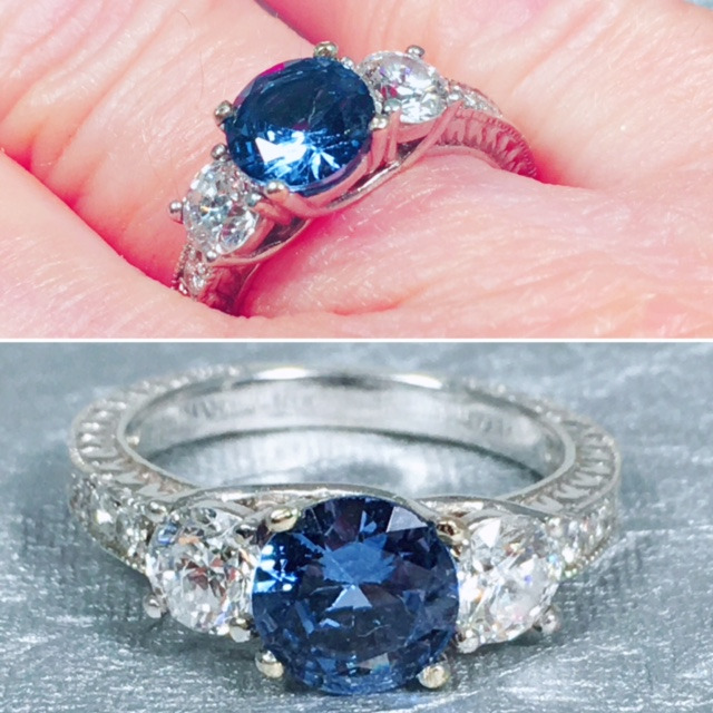 engagement rings nashville Vintage Engagement Ring L2026. Past, Present and Future, Sapphire and Diamond Engagement Ring. Approximately 1.25 TCW Sapphire and .50 TCW Diamond Set In 18K White Gold. Size 6. $2995.00
