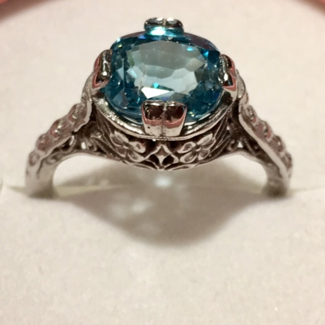Jewelry Stores In Franklin TN Antique Jewelry Nashville LP2227 Here we have a beautiful natural 4ct old mine cut blue zircon 14k white gold filigree art deco ring.