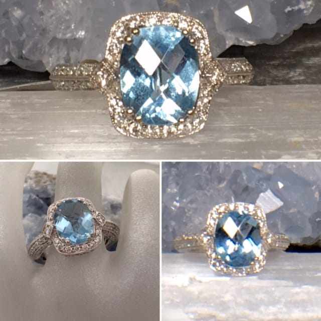 Diamond Topaz Ring