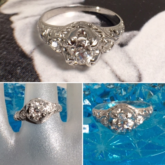 LP2395. Absolutely gorgeous 1930s Art Deco 18 karat white gold engagement ring. Set with a VS2 Diamond . The ring has a total carat weight of .57. $2100